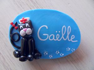 Badge fimo chat infirmier GAELLE