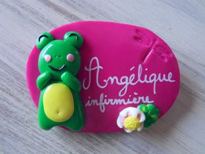 Badge fimo grenouille nénuphar libellule ANGELIQUE