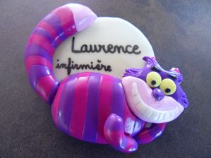 Badge fimo chat du cheshire LAURENCE