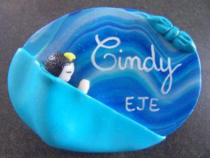 Badge fimo tibébé en écharpe fond mer écharpe unie CINDY