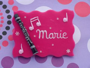 Badge fimo clarinette MARIE