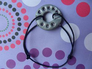 Bracelet cible fimo sur cordon coton avec prénoms SACHA NOA