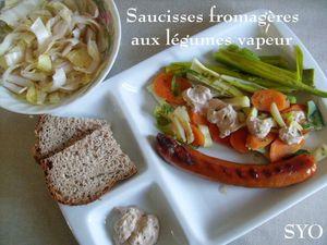 Saucisses Fromageres aux legumes vapeur-Mamigoz