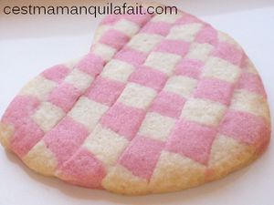 faire des bicuits damiers biscuits vichy rose making cheker