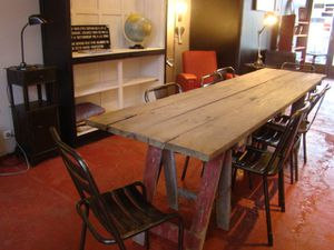 table treteaux rosycabroc design industriel. Black Bedroom Furniture Sets. Home Design Ideas