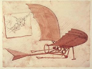 Dessin - Flying Machine, Leonardo da Vinci,1490
