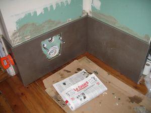 Pose du carrelage WC encastré 15