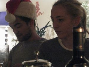 robert pattinson celebrating Xmas 2008 with sister victoria