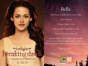 Breaking Dawn Promo Card - Bella