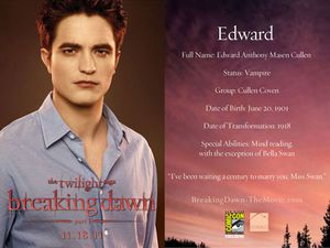 Breaking Dawn Promo Card - Edward