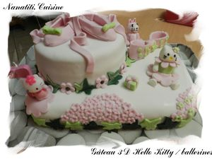 Gâteau 3d Hello Kitty ballerines 2