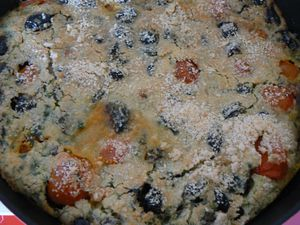 clafoutis escargots/tomates/olives/amandes