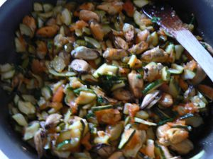 tomates, courgettes, moules