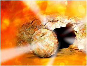 Jesus ressurection stone rolled away bright