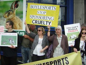 Aideen Yourell and Maureen O' Sullivan in protest at sponso
