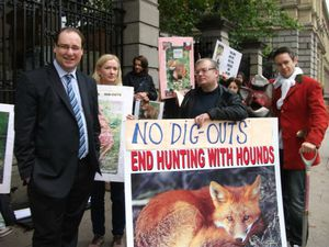 demo against bloodsports with Patrick Nulty TD among protes