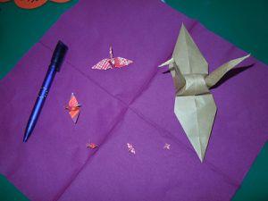 Origami Kranich Groessenvergleich