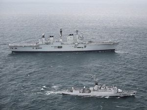 HMS Illustrious with French naval vessel FS Lieutenant de V