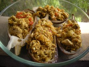 Aubergines farcies poulet curry (13)