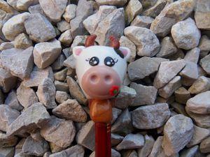Tête de crayon vache fimo