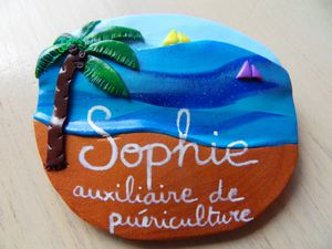 Badge fimo plage SOPHIE