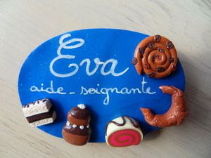 Badge fimo gourmandises EVA