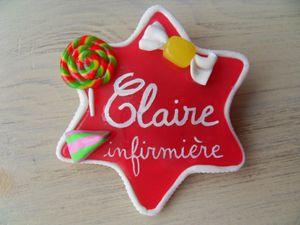 Badge fimo en étoile thème bonbons CLAIRE