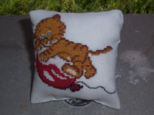Coussin chat recto