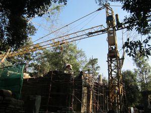 Les travaux de restauration au Ta Prohm