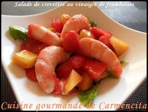 Salade de crevettes au vinaigre de framboises