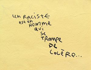raciste homme qui se trompe de colre