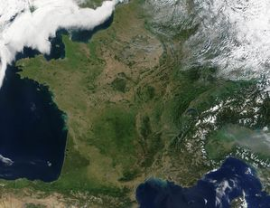 Satellite image of France in August 2002