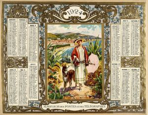 calendrier 1924 cannes