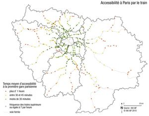 carto Accessibilite a Paris par le train