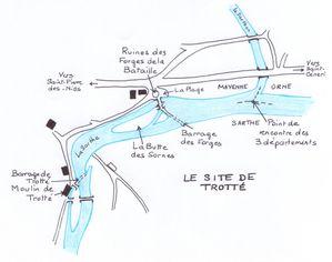 Plan du site de Trotté à Saint-Pierre-des-Nids