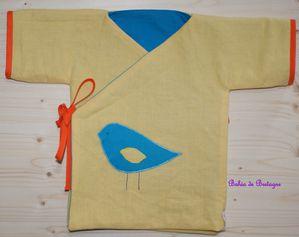 Kimono oiseau côté lin