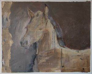 POULAIN / FOAL 80x100cm collage/acrylique