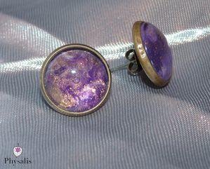boucle d'oreilles violet or
