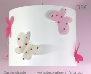 luminaire enfant papillon rose et lin luminaire enfant lampe b b casse noisette. Black Bedroom Furniture Sets. Home Design Ideas