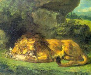 lion devorant un lapin