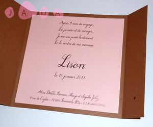 87 - faire part aline scrap chocolat taupe rose 2