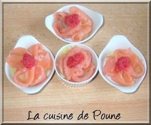 AMUSE BOUCHE POMME DE TERRE SAUMON ET OEUF LUMP