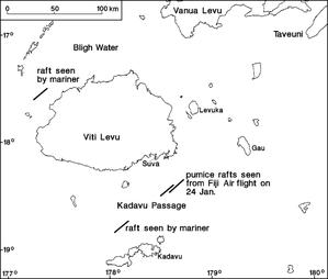 Radeaux de ponces autour de Viti Levu