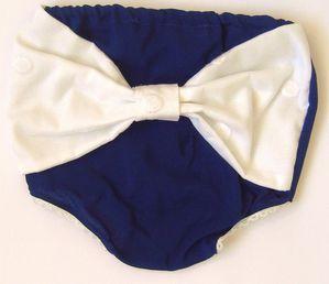 Culotte yvette bleu encre + noeud brodé