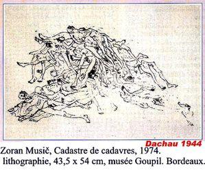 Zoran Music Dachau tas de cadavres lithographie 1972 - Muse