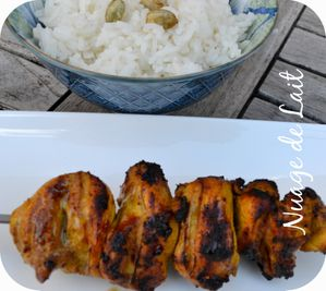 brochette poulet marinade beurre cacahuettes curry