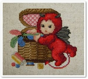 Little stitch devil with sew basket fin