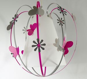 Suspension papillon : gris, fuchsia et noir