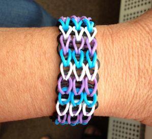 Bracelet Rainbow loom manchette 3 couleurs