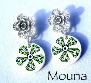 Boucles Green flower DISPONIBLE: 15 euros.